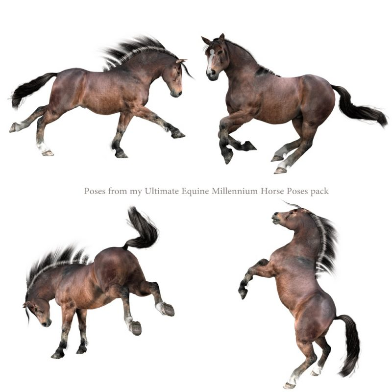 Millennium Horse Native Pony texture and full body morph FBM character for Poser and Daz Studio