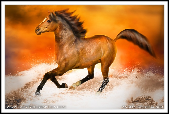 Red Gold, an equine art digital painting