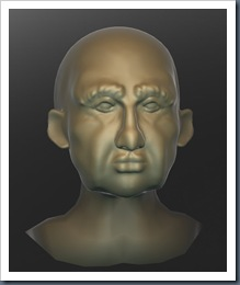 male head modeled in Sculptris (part finished)