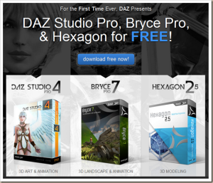 Daz Studio 4 Pro, Hexagon 2.5 and Bryce 7 Pro Free!