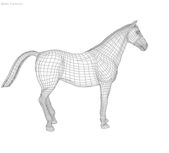 Poser P4 Horse wireframe