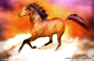 Red Gold Millennium Horse Digital Art Painting