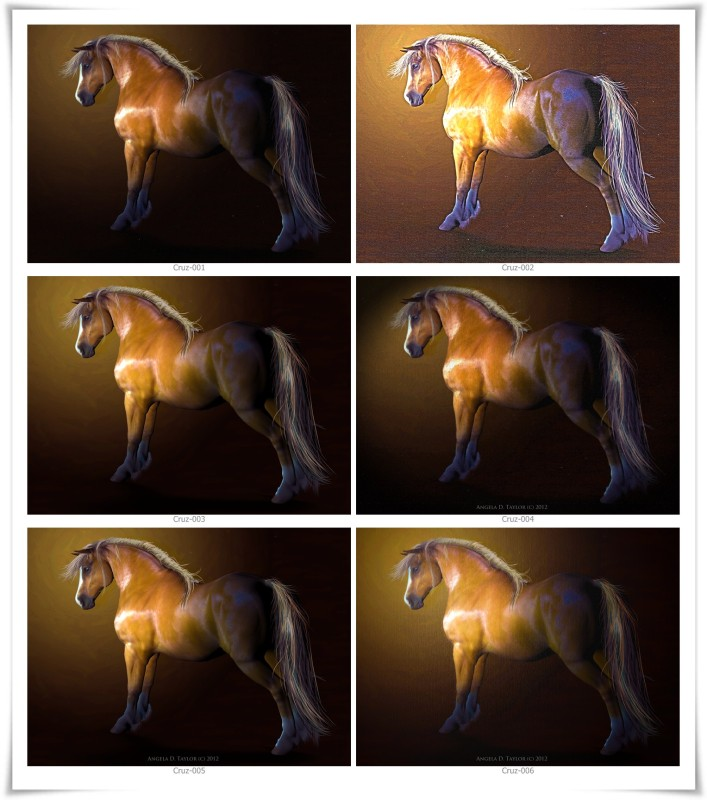 digital portraits of my horse made in Daz Studio and Photoshop