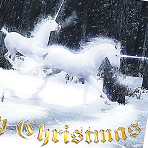 Legend of the Unicorns Christmas cards for sale at cafepress and Zazzle