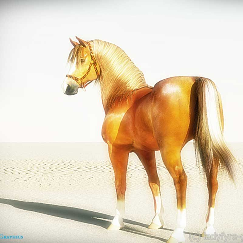 Daz Horse 2 rendered in Vue - my own texture work