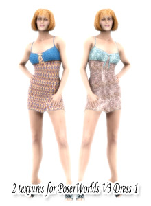 2 all new textures for PoserWorld's Dress 1 for Victoria 3.