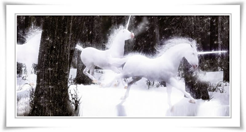 Legend of the Unicorns - inspired by 80's movie, Legend - Christmas cards for sale at cafepress and Zazzle