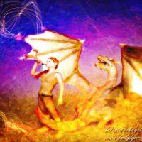 The Herald, 3d render in Daz Studio with Genesis and dragon