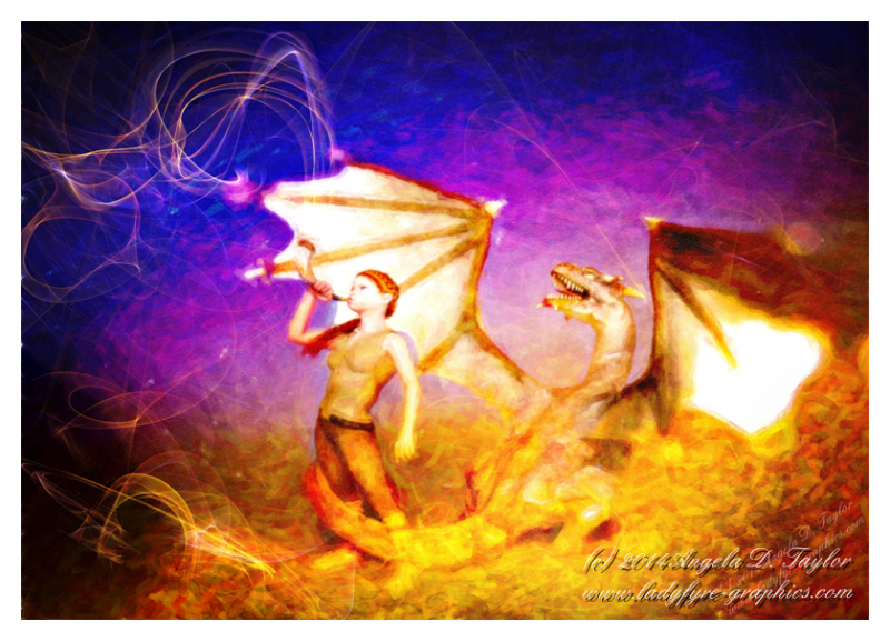 The Herald | girl and dragon | Digital art mixed media painting, 3d and photoshop.