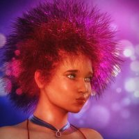 Genesis 3d Girl Portrait Pink Punk Hair iray