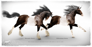 Hivewire Horse remap. HW3d horse on left. Millennium Horse on Right both using same texture map on body.