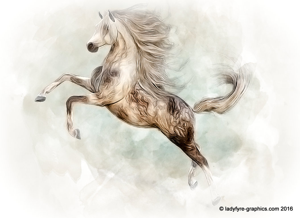 Hivewire 3d horse model in watercolour