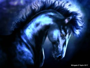 Midnight a Hivewire Horse, digital equine art. 3d horse model, rendered in Daz Studio in iRay and painted in photoshop