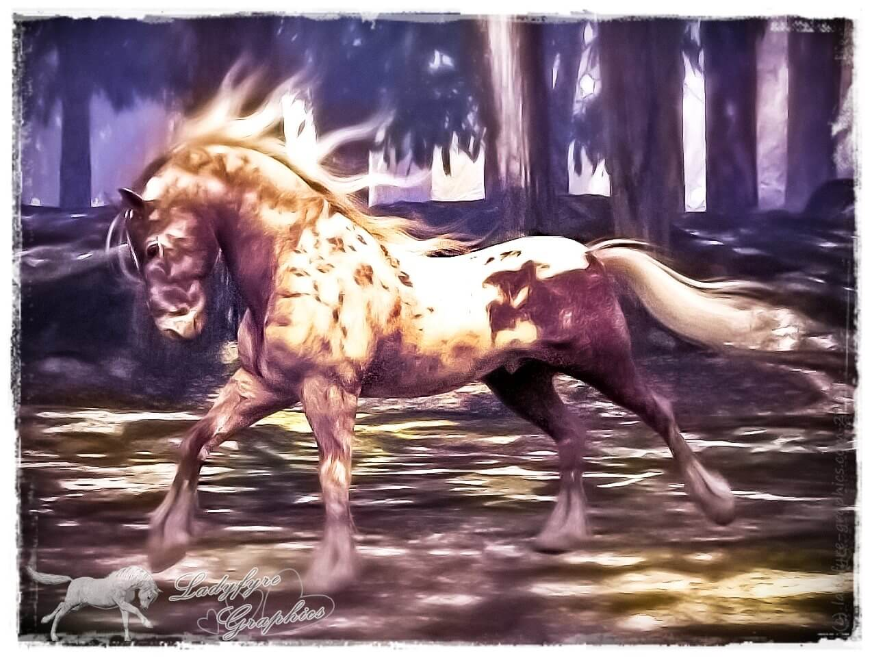 Loudly spotted Mil Horse texture on the Hivewire horse via my remap