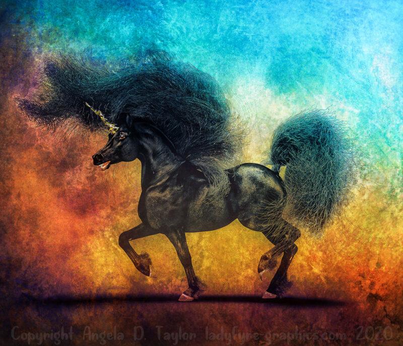 Black and Gold Unicorn Daz Studio Hivewire3d Horse iRay Render