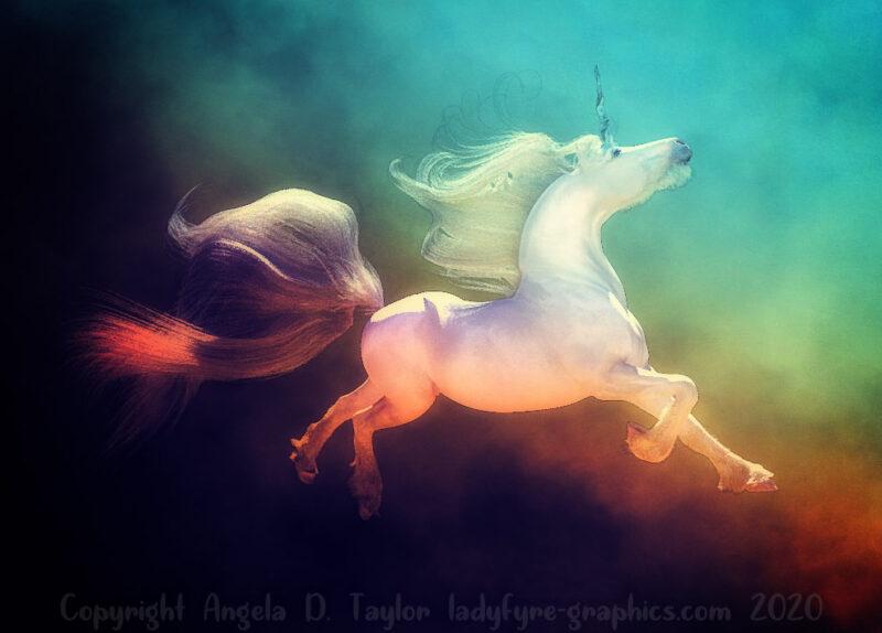 Dancing, Flying and soaring Unicorn Art Render