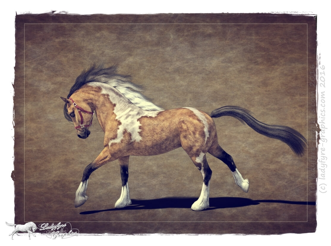 Paint Horse artistic render of the Hivewire Horse in Daz Studio