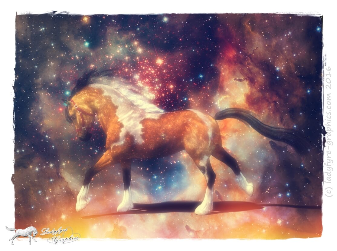 Paint Horse artistic render of the Hivewire Horse in Daz Studio with Galaxy Background