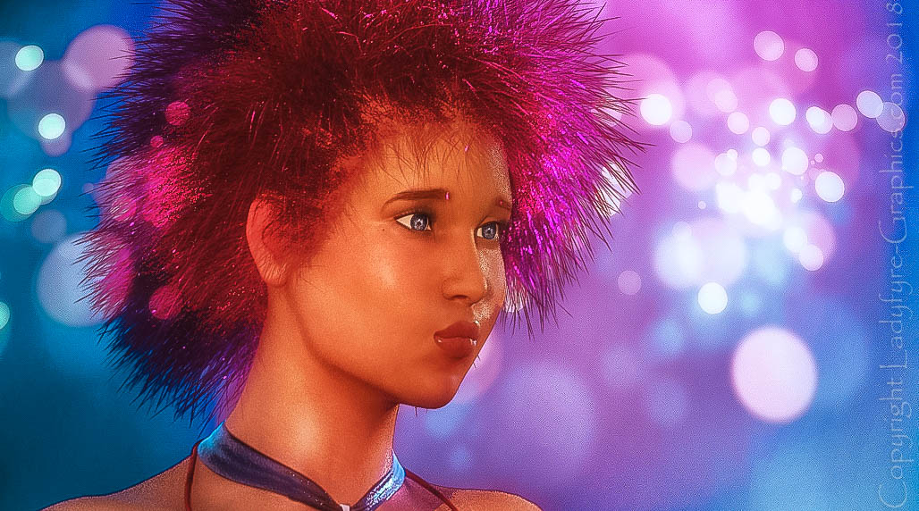 Glitter Hair Disco for Genesis 1. Rendered in Daz Studio with iRay