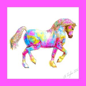 Daz Horse 2 3d horse model | Illustration style render of Rainbow Pony