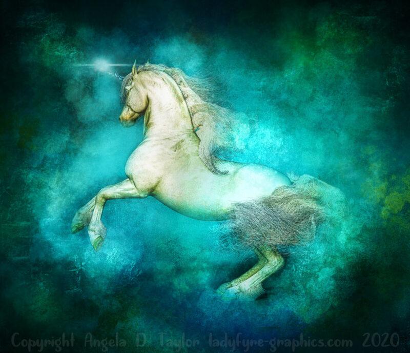 Teal Unicorn Art | rearing unicorn