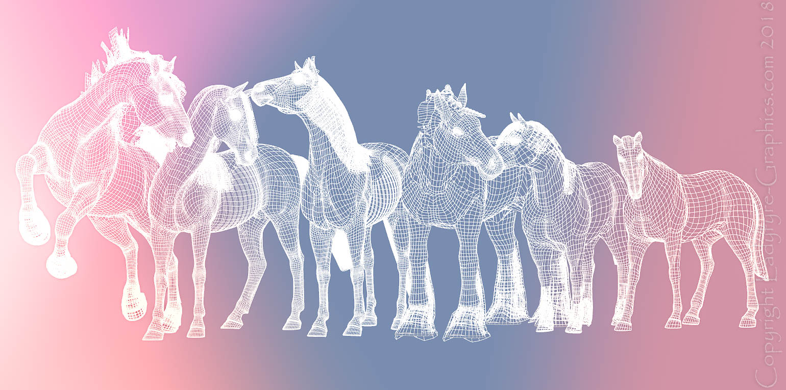 Evoloution of the digital horse 3d model
