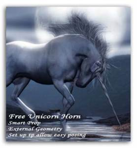 Unicorn horn free download for Poser p4 horse